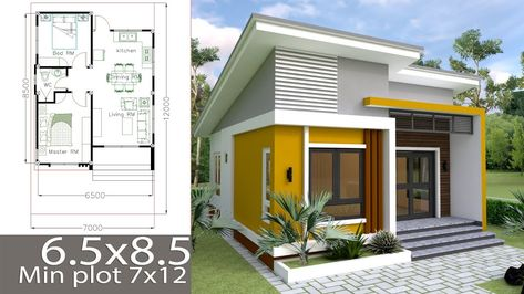 Small Home design Plan 6.5x8.5m with 2 Bedrooms