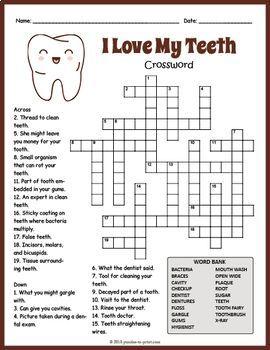 Free Dental Health Crossword Puzzle Worksheet Kids Dental Health Dental Health Activities Dental Kids