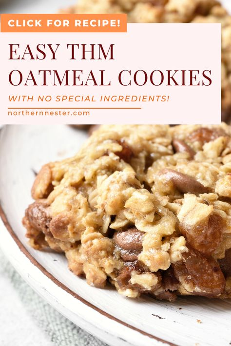 These delicious THM oatmeal cookies are a perfect on plan treat for kids and adults! Trim Healthy Recipes, Trim Healthy Momma, Thm Recipes, Healthy Desserts, Snack Recipes, Cream Recipes, Sugar Free Cookies, Sugar Free Desserts, Chip Cookies