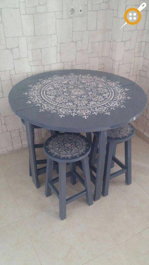 57 Adet Ahsap Sandalye Boyama Ornekleri Evde Sandalye Boyama Stencil Furniture Furniture Makeover Painted Chairs