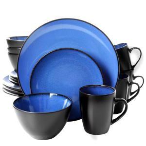Gibson Soho Lounge 16 Piece Blue Dinnerware Set 98598620m Blue