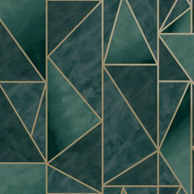 """Everly Quinn Stephani Bohemian Triangles 33' x 21"""" Paintable Wallpaper Roll in Green/Gold, Size 396""""H X 21""""W   Wayfair   Home Decor"""