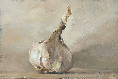 """Head of garlic 21cm x 13cm, oil on panel (approx 8""""x5"""") Daily painting for Thursday 11 August, 2011"""