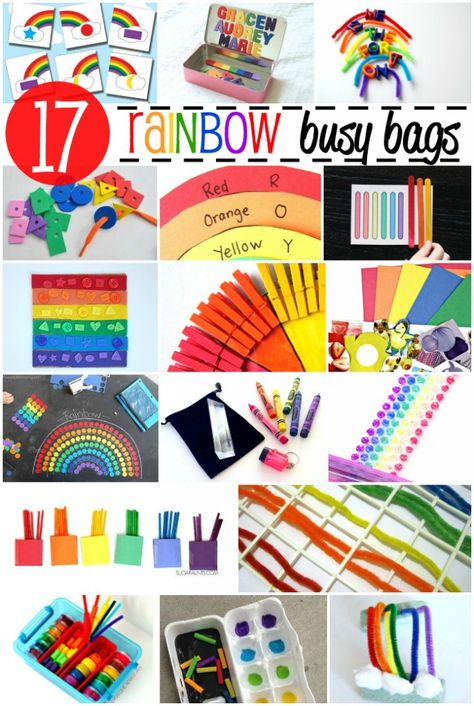 17 Awesome Rainbow Busy Bags. Fun ways to keep preschoolers entertained when you're out and about.