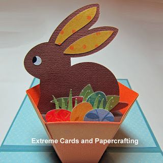 Extreme Cards And Papercrafting Flower Pot Bunny Pop Up Card Diy Pop Up Cards Diy Easter Cards Fancy Fold Cards