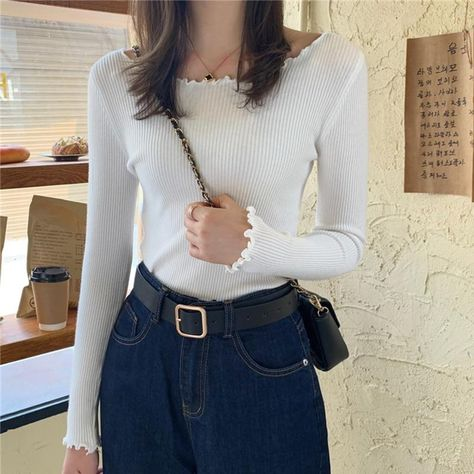 O-Neck Ruched Women Sweater High Elastic Solid 2020 Fall Winter Fashion Sweater Women Slim Sexy - White / One Size