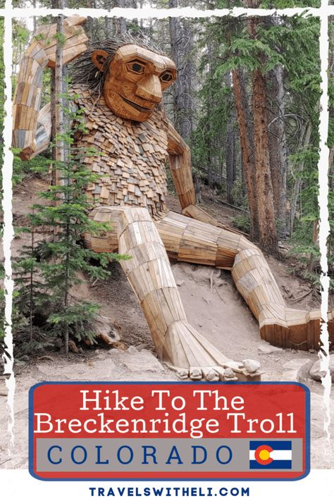 When visiting Breckenridge, Colorado you can't miss the Breckenridge troll named Isak Heartstone. Find out where to park and how to access the Breckenridge Troll's new location. Road Trip To Colorado, Colorado Hiking, Colorado Mountains, Denver Travel, Travel Usa, Travel Oklahoma, Alberta Canada, Keystone Colorado, Frisco Colorado