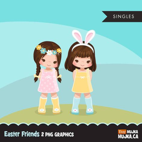 Easter spring clipart, bunny ears, scavenger, friends, cute characters, scrapbooking, card making, embroidery, planner stickers, rain boots by MUJKA on Etsy