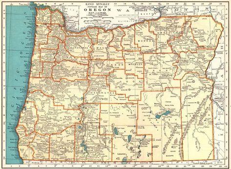 Vintage Oregon Map.1934 Vintage Oregon Map Antique Map Of Oregon State Map Gallery Wall