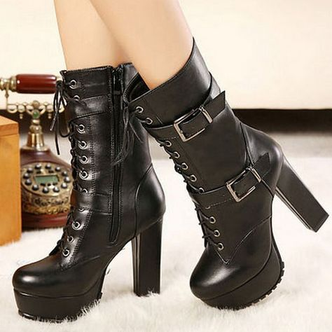 Womens Chunky Heel Martin Style Lace Up Buckle Boots BLACK