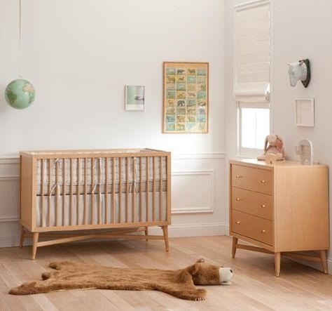 Dwellstudio Crib And Dresser Tapered Legs Baby Bed Natural Crib