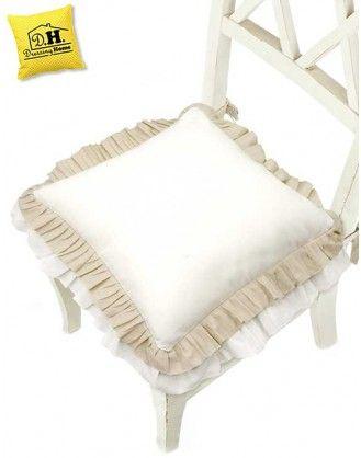 Cuscino per sedia Shabby Chic Doppio Volant 40 x 40 Colore
