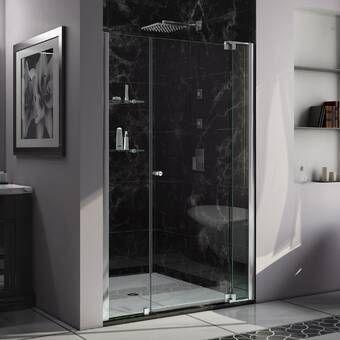 Unidoor X 54 W X 72 H Hinged Frameless Shower Door With Clearmax Technology Shower Doors Frameless Shower Doors Frameless Hinged Shower Door