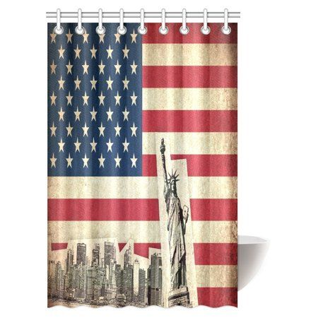 Mypop Flag Of Usa Decor Collection United States Of America Country With Monume French Country Bathroom French Country Decorating Bathroom Shower Curtain Sets