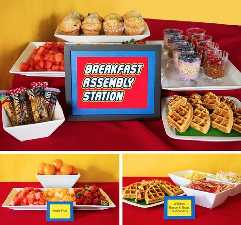 The rest of the food stations that were set up throughout the week also had cute Lego printables and were laid out so the foods could be