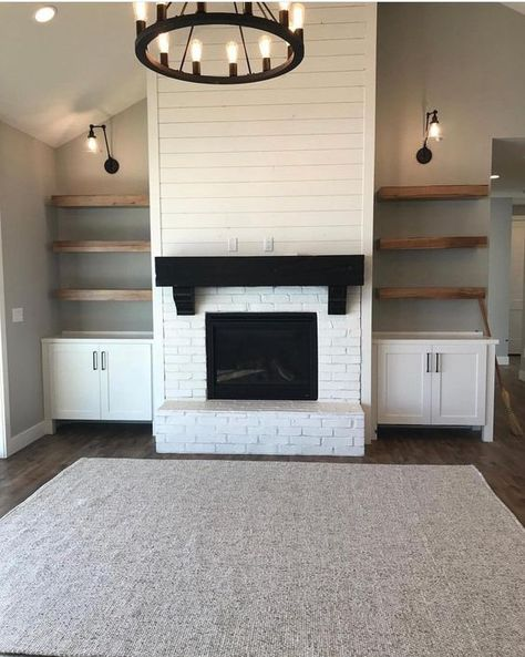 Brick Fireplace Makeover, Fireplace Built Ins, White Fireplace, Fireplace Remodel, Fireplace Design, Fireplace Ideas, Basement Fireplace, Shiplap Fireplace, Farmhouse Fireplace