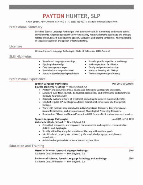 23 Speech Language Pathologist Resume Examples In 2020 With