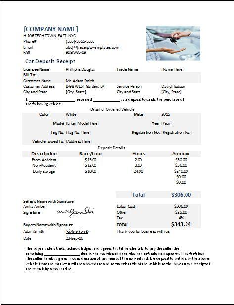 car deposit receipt template at receipts-templates Microsoft - cash receipt format