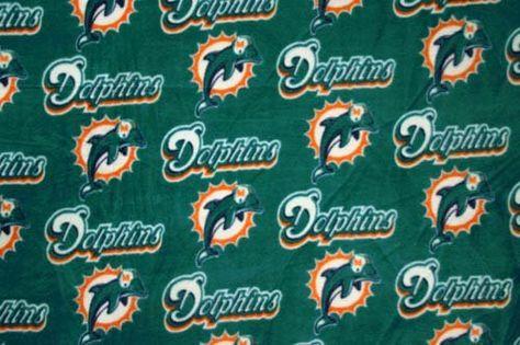 Nfl Miami Dolphins Football Fleece Fabric Print By The Yard
