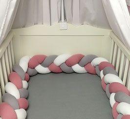Geflochtene Bettschlange In Altem Rosa Grau Weiss In 2020 Bett Babyzimmer Ideen
