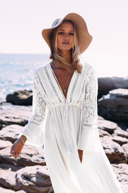 Women Bikini Cover Up Summer Clothing Beach Dress Beachwear Lady Swimsuit Lace Long Shirt Sun Blouse Ropa Vestidos De Playa Ropa Casual