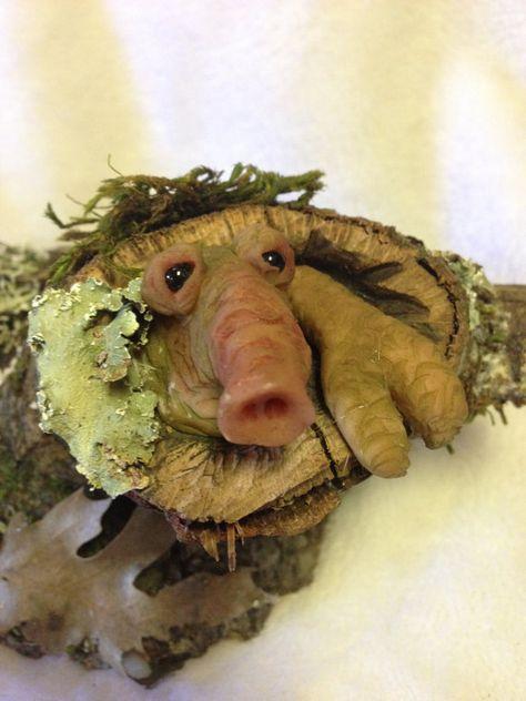 Forest GOBLIN Grub Troll Mossy Oak Burl Polymer Clay Fantasy Art RCWaitsArt 893 OOAK Shire Folk Tree Wood Spirit