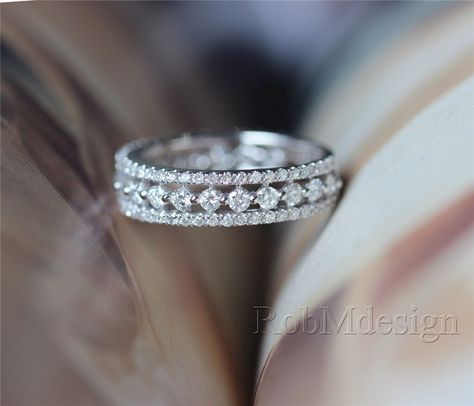 Diamond Ring 14k White Gold Ring with 1.1ct H/SI Diamond Wedding Ring Engagement Ring Diamond Anniversary Ring by RobMdesign on Etsy https://www.etsy.com/listing/198001440/diamond-ring-14k-white-gold-ring-with
