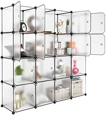 Amazon Com Langria 16 Cubby Shelving Cube Organizer Plastic Storage Cubes Drawer Unit Diy Cube Storage Shelves Diy Closet Storage Storage Closet Organization