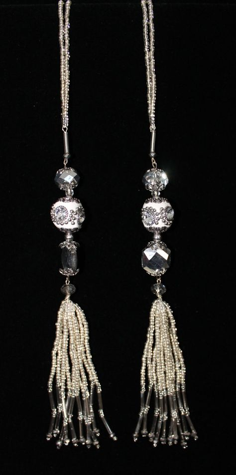 BEADED TASSELS White Mirror-studded beads home by GMBDesignsCustom, $29.00