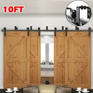 6ft 6 6ft 10ft Rustic Bypass Sliding Barn Wood Double 4 Doors Hardware Track Kit Double Sliding Barn Doors Sliding Barn Door Hardware Barn Door