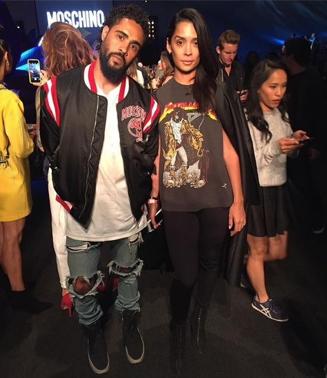 Jerry Lorenzo Wearing Moschino Bomber Jacket, Fear of God Jeans And Sneakers