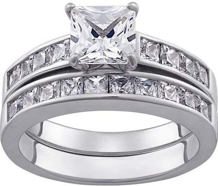 Online Sterling Silver Square Cz 2 Pc Wedding Ring Set Walmart Com Silver Ring Set Wedding Ring Sets Engraved Wedding Rings