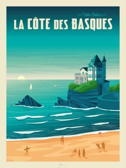 Villa Belza La Cote Des Basques Biarritz Affiches De Voyage Retro Pays Basque Affiche De Voyage Vintage