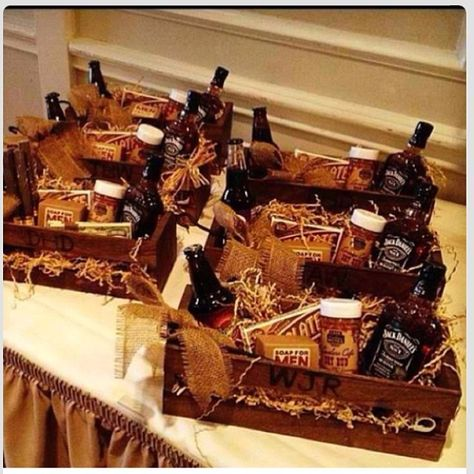 Goodie baskets from bride to groomsmen