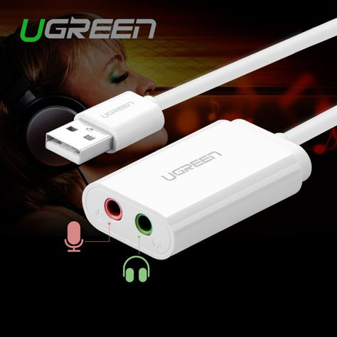 Ugreen USB to 3.5mm External Audio Sound Card Micphone Earphone Adapter Jack 3.5mm Headset for Win XP/ 7 8 Android Linux