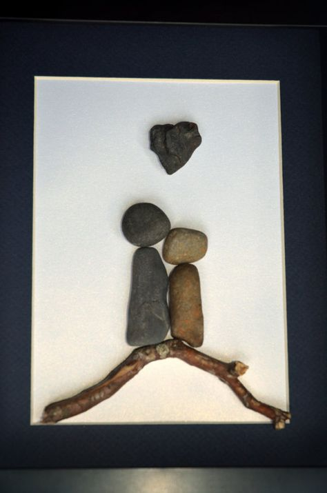 Stone Couple on Driftwood with Heart Rock. 8 X 10 par SticksnStone, $50.00