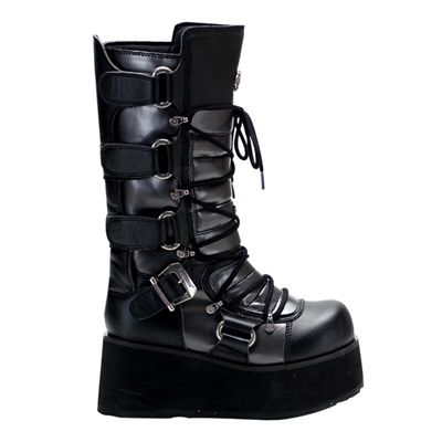 Cyber Gothic Mens Platform Boots by Demonia. Black and grey Demonia mens cyber platform boots with front lacing and buckles.