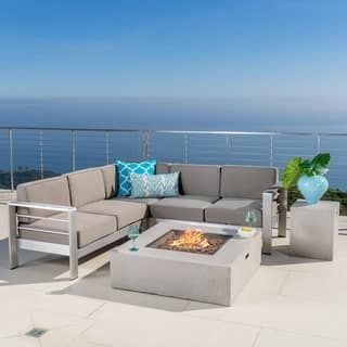 Cape Coral Outdoor 5 Piece V Shaped Sofa Set With Fire Table By Christopher Knight Home Patio Furniture Deals Noble House Sofa Set
