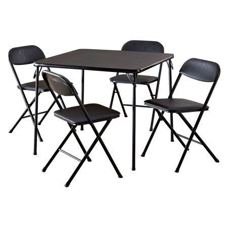 Cosco 5 Piece Card Table Set Black Walmart Com Card Table And Chairs Card Table Set Table And Chair Sets