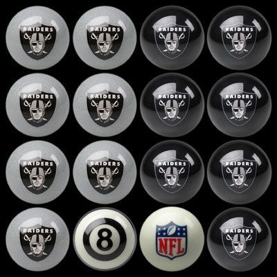 Imperial 16 Piece NFL Billiard Ball Set NFL Team: Oakland Raiders