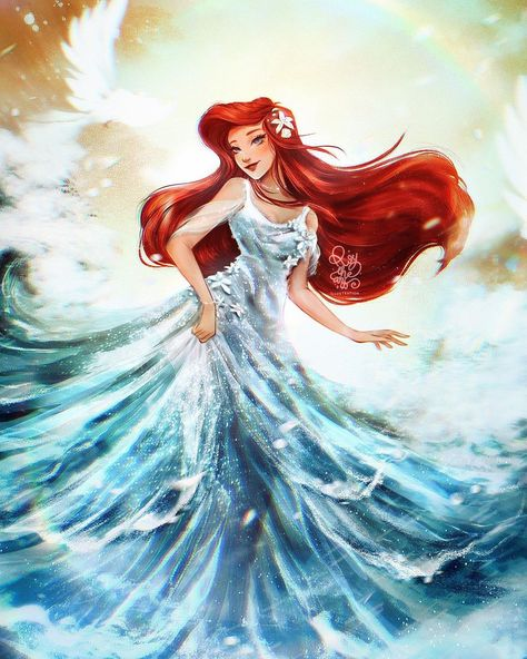 """ROY THE ART on Instagram: """"🌊ARIEL🌊  _DISNEY PRINCESS FANART_  ✨Brave, beautiful, and kind, Ariel always finds a way to be eternally optimistic. Rarely do we see her…"""""""