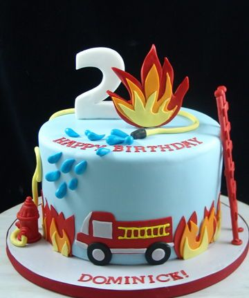 Swell Fire Truck Themed Birthday Cake Firefighter Birthday Cakes Personalised Birthday Cards Veneteletsinfo