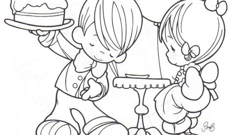 Birthday Party Coloring Pages Precious Moments Coloring Pages