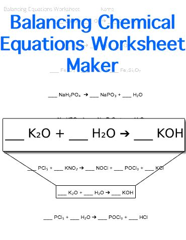 Balancing Chemical Equations Worksheet | Customizable | Chemistry