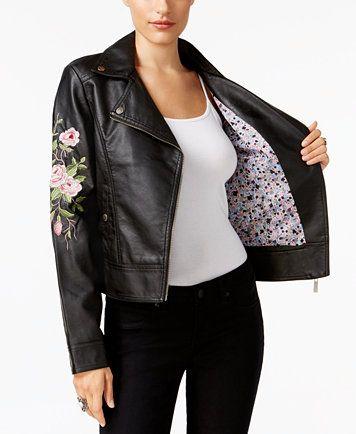 Jou Jou Juniors Embroidered Faux Leather Jacket Reviews Coats Women Macy S Faux Leather Jackets Motorcycle Jacket Women Vegan Leather Moto Jacket