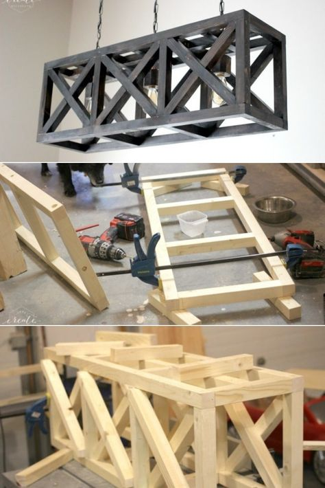 We found a very good tutorial, very complete on how to make a massive wooden industrial light fixture, it was made for a Home Depot Gift Challenge. # DIY Gifts wood How to Make an Industrial Light Fixture - iD Lights Diy Luminaire, Diy Lampe, Diy Light Fixtures, Industrial Light Fixtures, Vintage Industrial Lighting, Industrial House, Rustic Lighting, Modern Industrial, Farmhouse Furniture