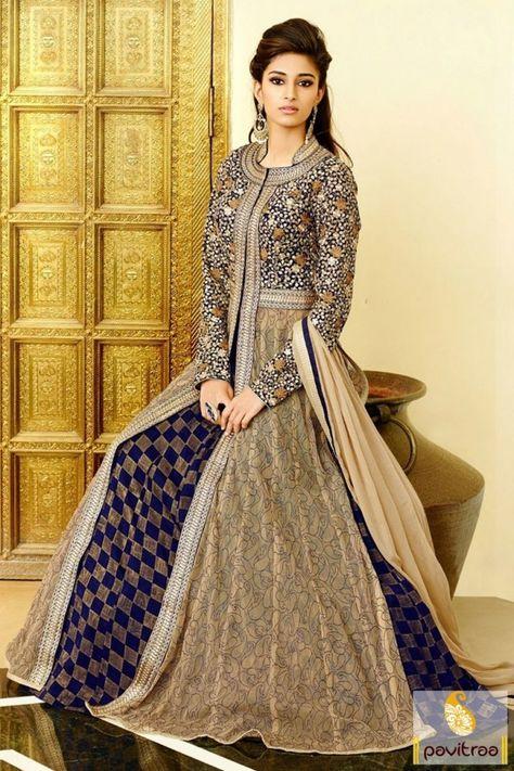 bbc2586585 Get this fashionable beige #cobalt blue #net designer wedding salwar suit  online with discount offer price. Purchase this heavy chiffon georgette  umbrella ...
