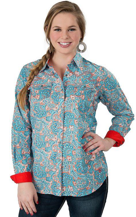 1f62ea1ce0ea73 Ariat® Women's Harper Orange & Turquoise Paisley Print Long Sleeve Western  Shirt