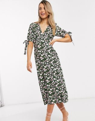 Asos Design V Neck Midi Tea Dress With Buttons And Tie Sleeves In Floral Print Asos In 2020 Tea Dress Wrap Shirt Dress Womens Dresses