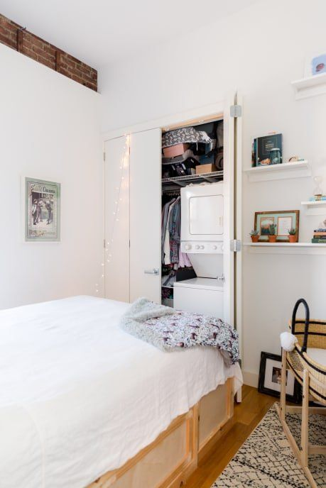 This Couple Made The Cutest Home In Just 380 Square Feet Small Space Storage Small Spaces Small Bedroom Storage